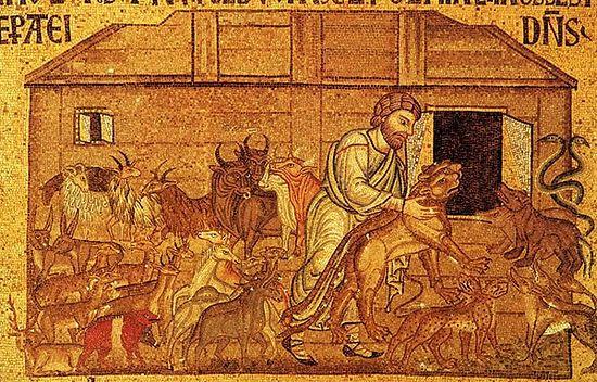Праведный Ной собирает животных в ковчег