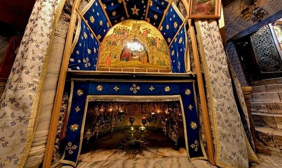 The place of the manger, Bethlehem.