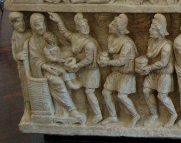 Саркофаг «Двух Заветов» или «догматический». 325-350 г. Музеи Ватикана, Рим. Фрагмент