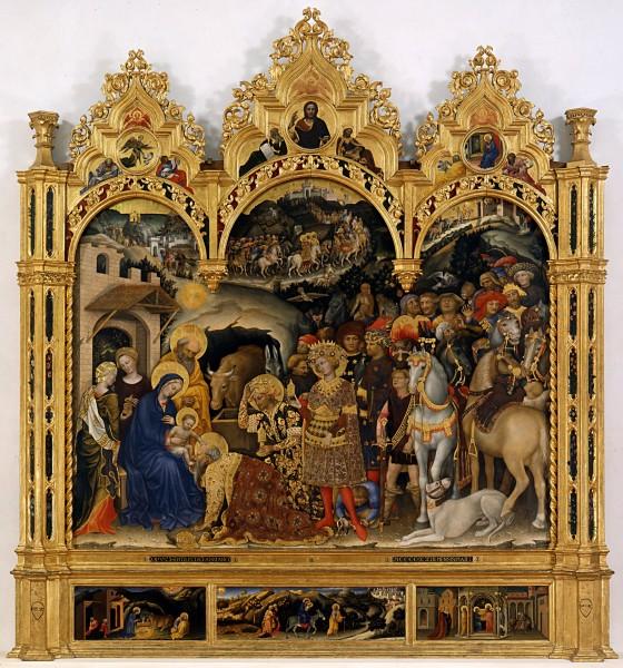 Джентиле да Фабриано. Поклонение волхвов. 1423 г. Галерея Уффици, Флоренция, Италия