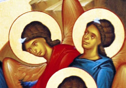 3. Angels of the Lord gathered on the shore of the Jordan River give praises to Christ (detail).