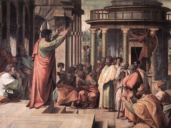 Рафаэль. Проповедь апостола Павла в Афинах. Картон для ковра. 1515. Лондон, Музей Виктории и Альберта