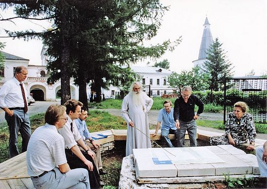 Discussing the plans for the restoration of the Monastery of St. Joseph of Volokolamsk. Early 1990s.