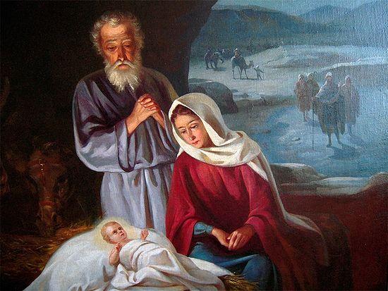 Игумен Ипполит. Рождество Христово. Фрагмент картины. Холст, масло