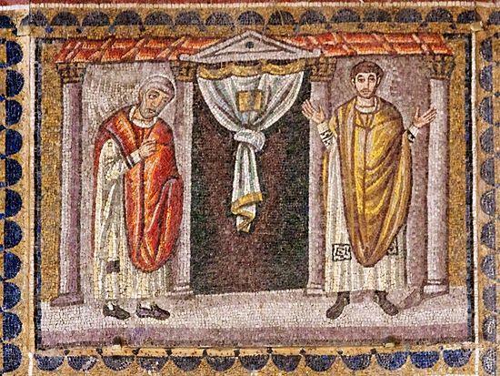 Мытарь и фарисей. Равеннская мозаика