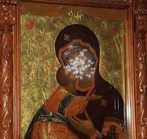 Расстрелянная Владимирская икона Божией Матери