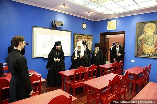 Святейший Патриарх Кирилл в аудитории «Византия». Фото: И. Правдолюбов / Православие.Ru