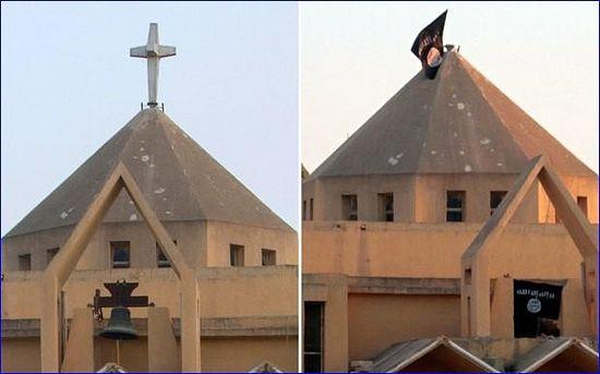 Армянская католическая церковь. Теперь вместо креста ее венчает исламский флаг.