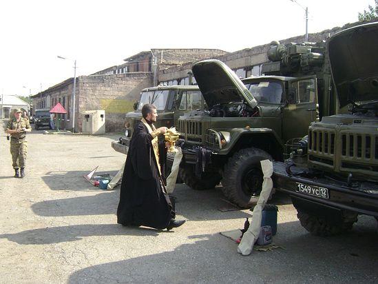 Освештање аутомобилске и војне опреме 39. Ленинаканског пограничног одреда.