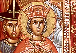 Emperess Theodora, who proclaimed the veneration of icons, is depicted to the right of the icon.