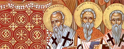 To the left of the icon are Patriarch Methodios (left), Bishop Michael of Synnadon (center), and Patriarch Tarasios.