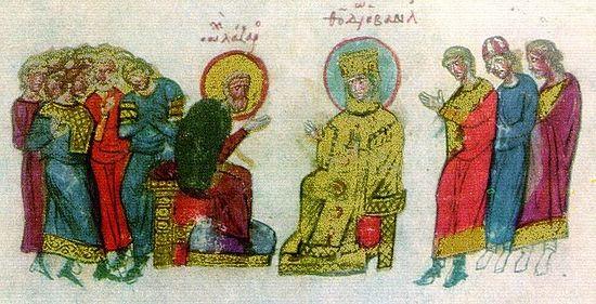 Встреча императрицы Феодоры с иконописцем Лазарем, пострадавшем при императоре Феофиле. Миниатюра из Хроники Иоанна Скилицы