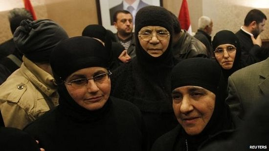 ​The nuns then travelled to a border crossing with Syria before heading towards Damascus in a minibus