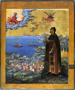 Святой благоверный князь Алесандр Невский, икона XIX века со сценами жития