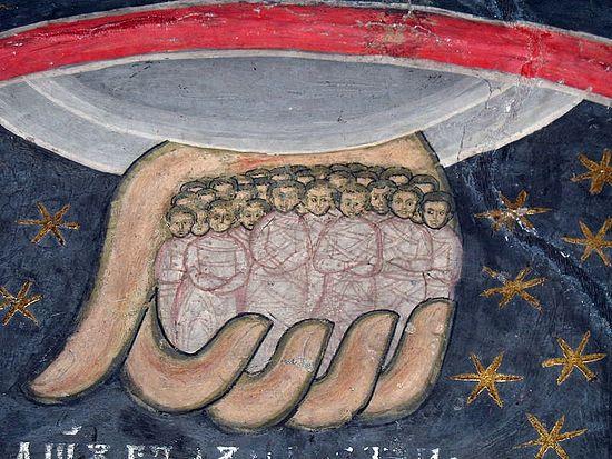 Души праведных в руке Божией. Фреска монастыря Сучевица, Румыния