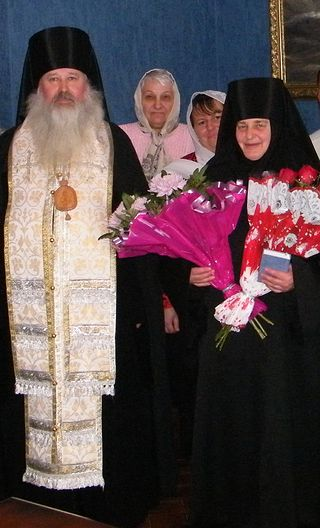 Bishop Tikhon and Mother Liudmila on the day of her tonsure as a nun