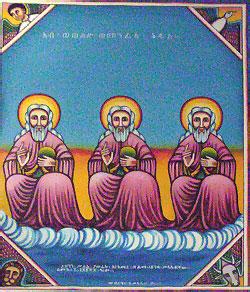 Типичная эфиопская икона Святой Троицы