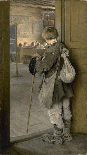 Н. П. Богданов-Бельский. 1897 г. В дверях школы