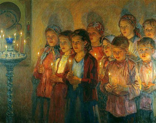Н. П. Богданов-Бельский. В церкви