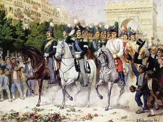 А. Кившенко . Вступление русских в Париж. Картина 1880 г.