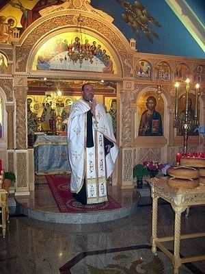 Father Dimitrios Moraitis in a New York Church