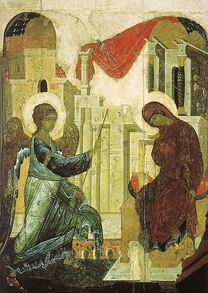 The Annunciation. Icon by Andrei Rublev, 1427-1430, the Andronicus Monastery
