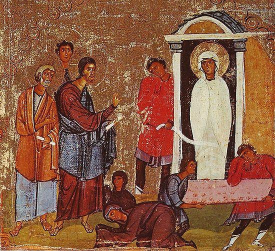 The resurrection of Lazarus. Icon, Sinai, 12th century