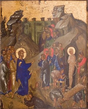 The Resurrection of Lazarus. Byzantine icon, late 14th — early 15th century, (From the Collection of G. Gamon-Gumun, Russian museum)
