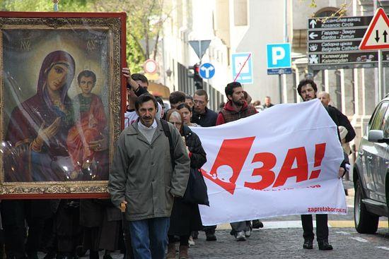 Believers process against abortion in Belgrade in 2014