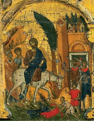 The Lord's Entry Into Jerusalem. Icon of Vatopedi Monastery, Mount Athos