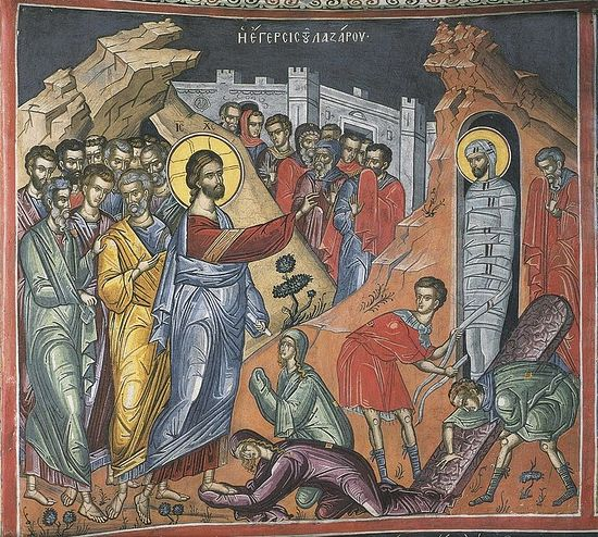 The Resurrection of Lazarus; Greece; XVI century; Athos monastery Dionysiou