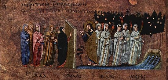The parable of the ten virgins. VI century. Thumbnail Gospel of Rossano. Museum in Rossano, Italy