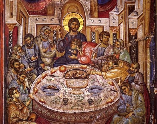 Holy and Great Thursday. The Mystical (Last) Supper. Early 14th c. Fresco in Vatopedi Monastery, Mt. Athos.
