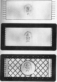 Рис. 2. .Иллюстрация гипотезы Яна Вильсона о том, как сложенную ткань Плаща-ницы укрепили на раме и накрыли окладом с решетчатым орнаментом. (Из книги Вильсона, 1979).