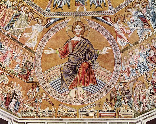 Страшный суд. Мозаика. Флоренция, Италия, 1300 г. Баптистерий Сан Джованни