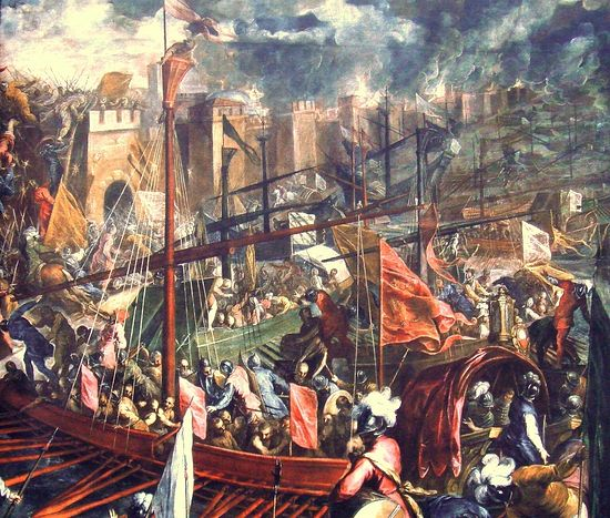Тинторетто. Взятие Константинополя крестоносцами