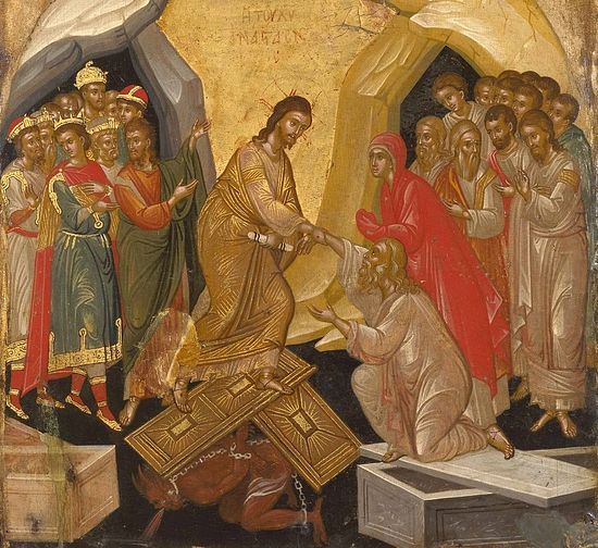 Воскресение Христова. Икона. Христос держит за руку Адама, за спиной которого Ева и ветхозаветные праведники. За спиной Христа - святые пророки