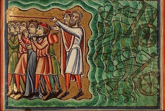 Исход из Египта. Миниатюра, 1190-1200 гг., Франция