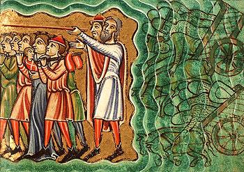 И вода возвратилась и покрыла колесницы и всадников всего войска фараонова, вошедших за ними в море; не осталось ни одного из них. А сыны Израилевы прошли по суше среди моря: воды были им стеною по правую и по левую сторону. (Исх. 14:27-29)