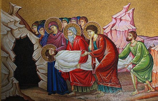 Положение во гроб. Мозаика храма Воскресения Христова в Иерусалиме