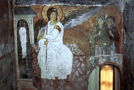 Белый ангел. Фреска монастыря в Милешево, Сербия. XIII в.