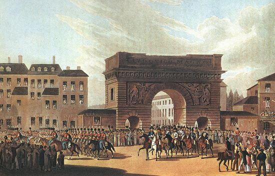 Вступление союзных войск в Париж 31 марта 1814 года Английская гравюра неизвестного художника