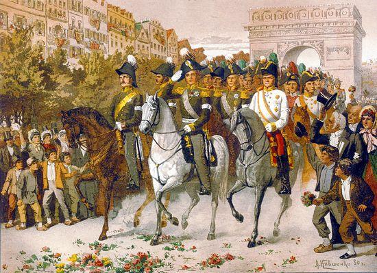 Въезд императора Александра I с союзниками в Париж 1814 г. Хромолитография. По акварельным рисункам художника А.Д. Кившенко