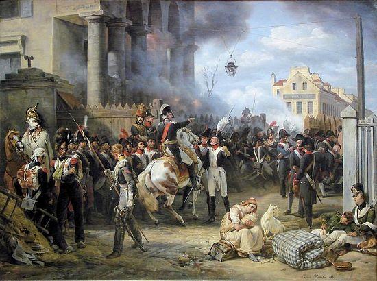Оборона заставы Клиши в Париже в 1814 г. Картина О. Верне