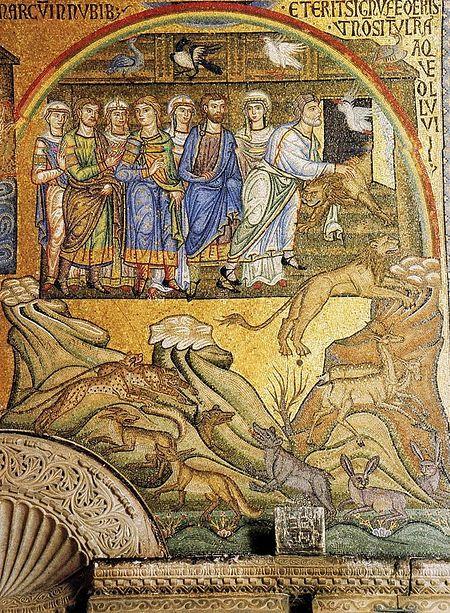 Ной выходит с семьей из ковчега и выпускает животных