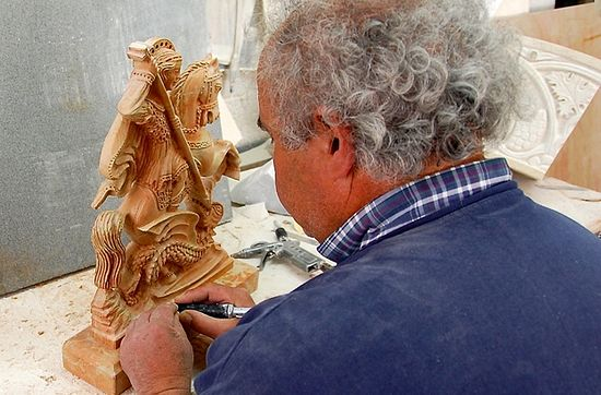​Sculptor Akram Anastas has made thousands of stone carvings of St George