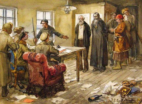 Допрос в комитете бедноты. Рис.: Иван Владимиров