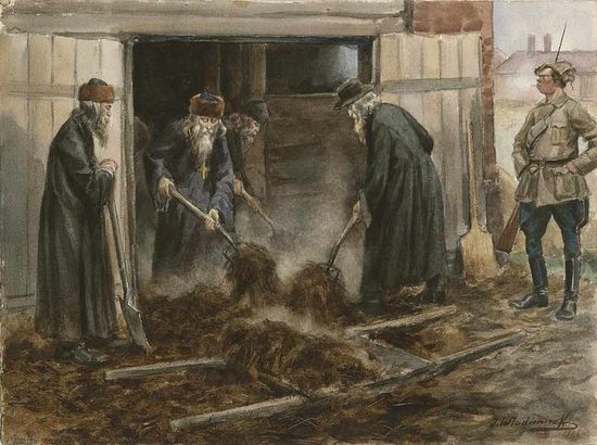Русское духовенство на принудительных работах. Рис.: Иван Владимиров. 1919