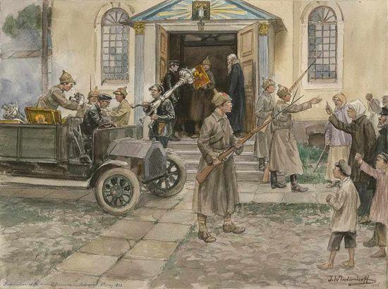 Реквизиция церковного имущества в Петрограде. Рис.: Иван Владимиров. 1922 г.