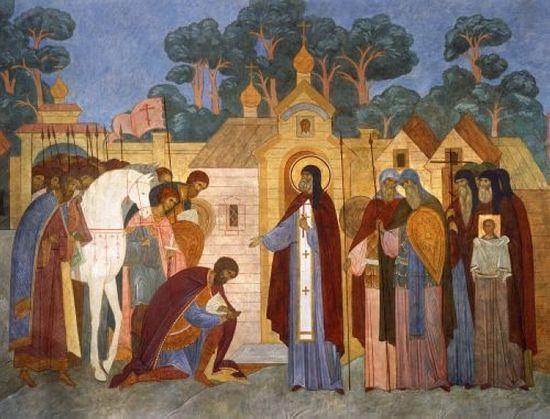 Благословение князя Димитрия Донского на битву Сергием Радонежским